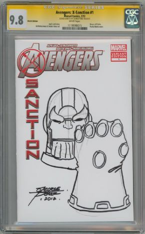 Avengers X-Sanction #1 Blank Sketch Variant CGC 9.8 Signature Series Signed George Perez Thanos Sketch Marvel comic